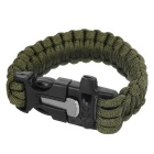 Outdoor Sports 7-Core Parachute Cord Bracelet w/ Whistle / Flint / Saw Cutter - Army Green