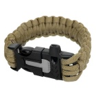 Outdoor Sports 7-Core Parachute Cord Bracelet w/ Whistle / Flint / Saw Cutter - Mud Color
