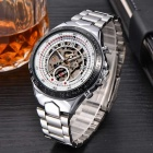 MCE Men's Skeleton Round Dial Steel Wristband Analog Self-Winding Mechanical Watch - Silvery White