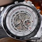 MCE Men's Skeleton Analog Self-Winding Mechanical Watch - White