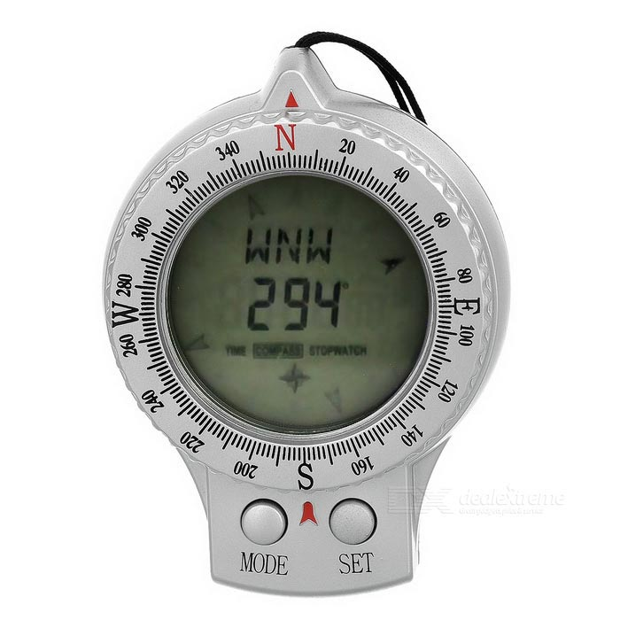 ABS Digital Compass w/ 1.4 Screen for Camping / Travel - Silver