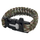 Outdoor Sports 7-Core Parachute Cord Bracelet w/ Whistle / Flint / Saw Cutter - Green Camouflage