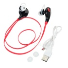 In-Ear Bluetooth V4.0 Stereo Headset Headphone w/ Mic - Black + Red