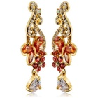 Women's Butterfly + Plum Style Dangle Earrings - Golden (Pair)