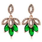 Green Maple Leaf Crystals Inlaid Earrings - Rose Golden (Pair)