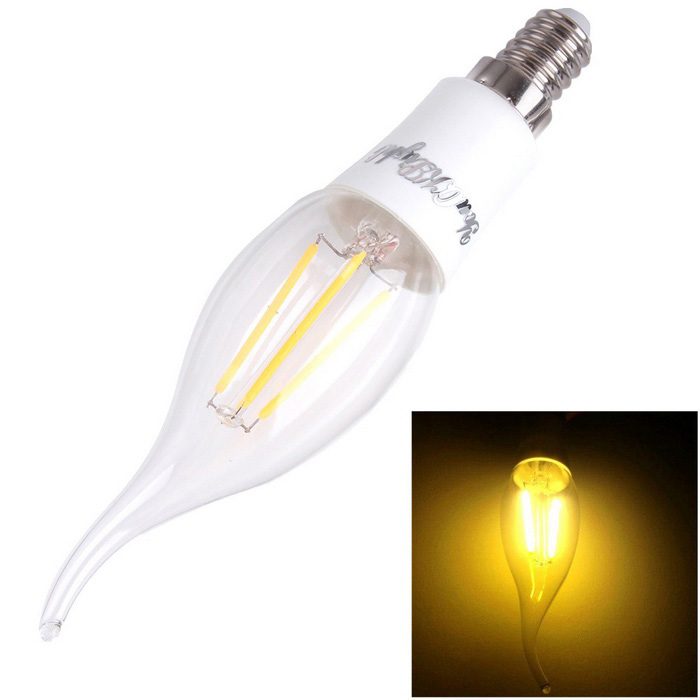 YouOKLight E14 4W LED Filament Candle Bulb Warm White 3000K 380lm