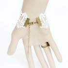 kant armband / finger ring set voor vrouwen - wit + multicolor