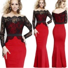 Fashion Slim Lace Fishtail Style Stitching Dress - Red + Black (XXL)