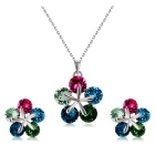 Colorful Plum Blossom Style Crystal Necklace for Women - Silver