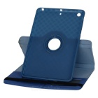 360' Rotating Grid Pattern PU + TPU Case for IPAD MINI - Dark Blue
