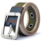 Striped Quick Dry Webbing Waist Belt w/ Pin Buckle - Army Green + Yellow (125cm)