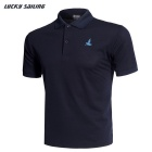 Lucky Sailing Men's Quick-dry Short-sleeved Polo T- Shirt - Dark Blue (XXL)
