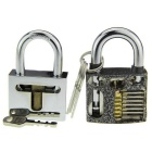 Steel Lockpick Slotted Practice Padlock + Spring-free Lock Training Set - Silvery White + Black