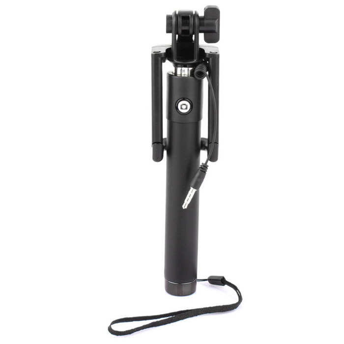 Retractable Mini 3.5mm Plug Selfie Monopod for Smart Phones - Black
