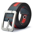 Striped Quick Dry Webbing Waist Belt w/ Pin Buckle - Coffee + Red (125cm)