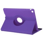 360' Rotary Grid Pattern PU Case w/ Stand for IPAD AIR - Purple