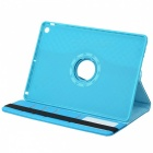 360' Rotary Grid Pattern PU Case w/ Stand for IPAD AIR - Sky Blue