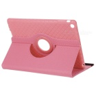 360' Rotary Grid Pattern PU Case w/ Stand for IPAD AIR - Pink