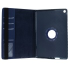360' Rotary Grid Pattern PU Case w/ Stand for IPAD AIR - Dark Blue