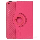 360' Rotary Grid Pattern PU Case w/ Stand for IPAD AIR - Deep Pink