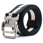 Striped Webbing Quick-Dry Belt w/ Dual Ring Buckle - Black + Beige (110cm)