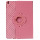 360' Rotary Grid Pattern PU Smart Case for IPAD AIR 2 - Pink