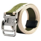 Striped Webbing Quick-Dry Belt w/ Dual Ring Buckle - Khaki + Green (110cm)