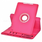 360' Rotary Grid Pattern PU Smart Case for IPAD AIR 2 - Deep Pink