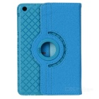360' Rotating Grid Pattern PU + TPU Case for IPAD MINI - Sky Blue