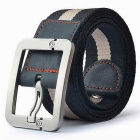 Striped Quick-Dry Nylon + Leather Webbing Belt w/ Zinc Alloy Pin Buckle - Black + White (110cm)