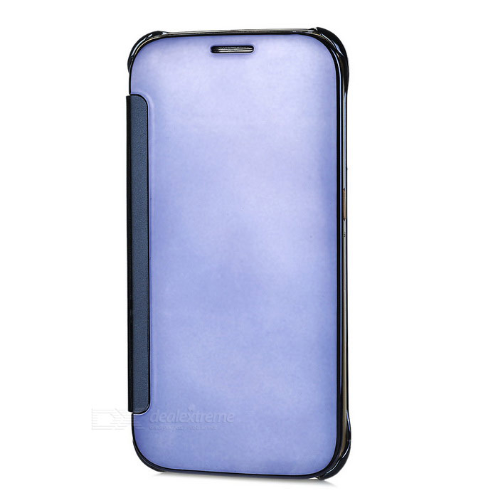 Protective Mirror Cover PU Case for Samsung Galaxy S6 - Dark Blue