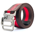 Striped Webbing Quick-Dry Belt w/ Dual Ring Buckle - Coffee + Red (110cm)