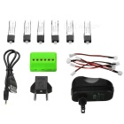 200mAh Batteries / Adapter Accessory Set for Wltoys - Green + Black