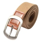 Webbing Canvas + Leather Waist Belt w/ Pin Buckle - Khaki (110cm)