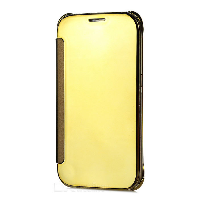 Protective Mirror Cover PU Case for Samsung Galaxy S6 - Golden