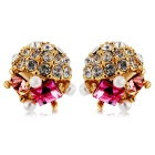 Exquisite Crystal Ear Studs Earrings for Women - Golden