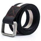 Striped Webbing Quick-Dry Nylon Belt w/ Dual Ring Buckle - Black + White (125cm)