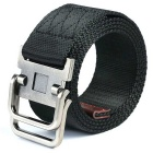 Webbing Quick-Dry Belt w/ Dual Ring Buckle - Black (110cm)