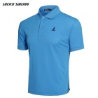 Lucky Sailing Men's Quick-dry Short-sleeved Polo T- Shirt - Light Blue (L)