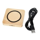 Square Shaped Wood 5V Qi Wireless Charger - Wood Color