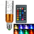 E27 3W cylindrique RGB LED avec w / remote - d'or (ac 85 ~ 265V)