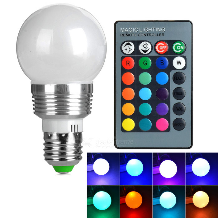 E27 Dimmable 3W RGB Bulb Lamp w/ Remote Controller (RGB Sync)
