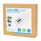 5V / 8A 6-Port USB Smart Quick Charger Power Adapter - White (US Plugs)