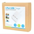 5V 5A 3-Port USB Power Charger w/ US Plug Cable - White