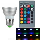 E27 3.5W RGB LED Bar Spotlight w/ Remote Controller - Silver (AC 85-265V)