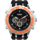 HPOLW FS-591 Männer imprägniern Sport-Quarz-Analog Digital Watch - Schwarz + Orange (1 x CR2025)