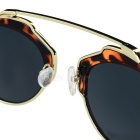 UV400 Leopard Metal Frame Resin Sunglasses - Black + Yellow