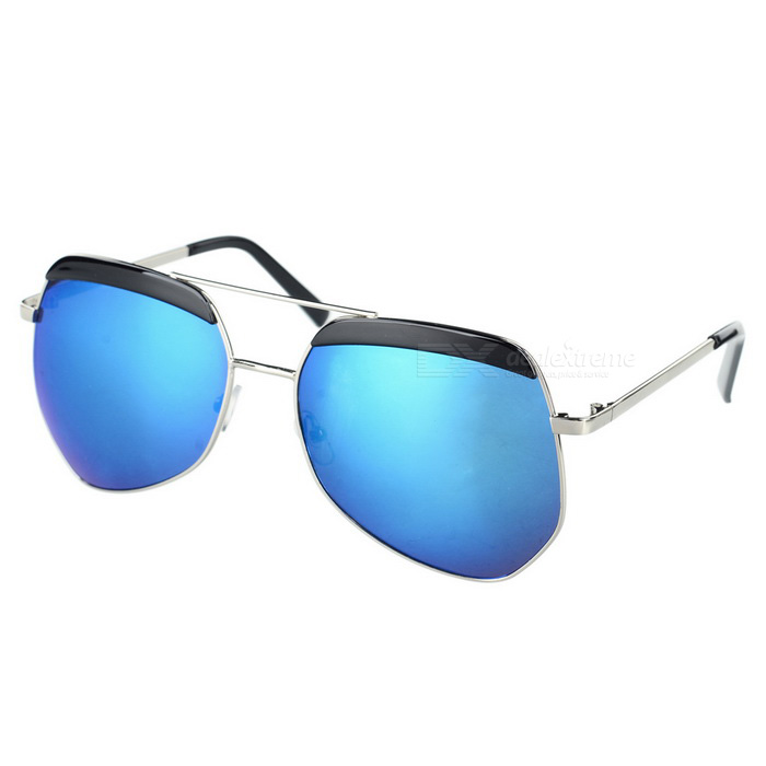 Fashionable UV400 Protection Resin PC Lens Sunglasses - Blue + Silver