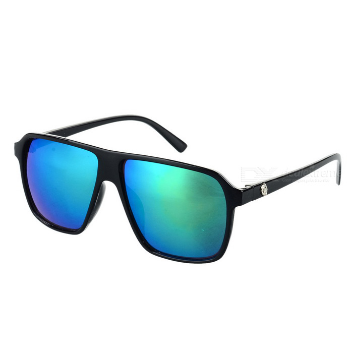Unisex Retro UV400 Protection PC Green REVO Lens Sunglasses - Black