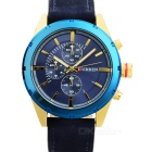 CURREN PU Leather Band Quartz Analog Wrist Watch - Sapphire Blue + Golden (1 x 626)